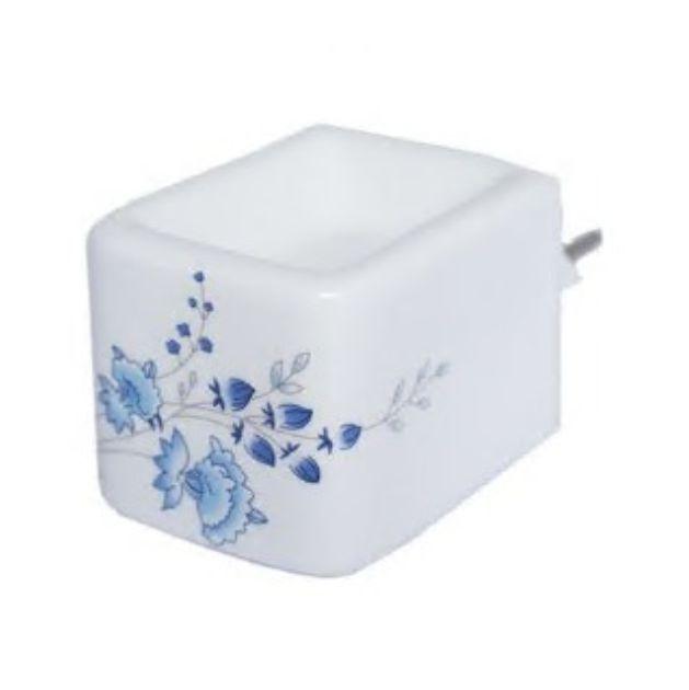 Aromatizador Elétrico Branco de Cerâmica Com Arabesco Azul (com interruptor)