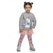 Conjunto Infantil Feminino Blusão, Legging e Saia - ELIAN 231469