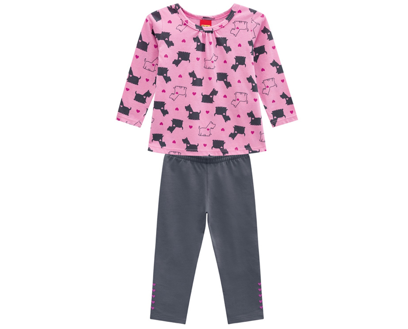 Conjunto Infantil Feminino Blusa e Legging - KYLY 207095