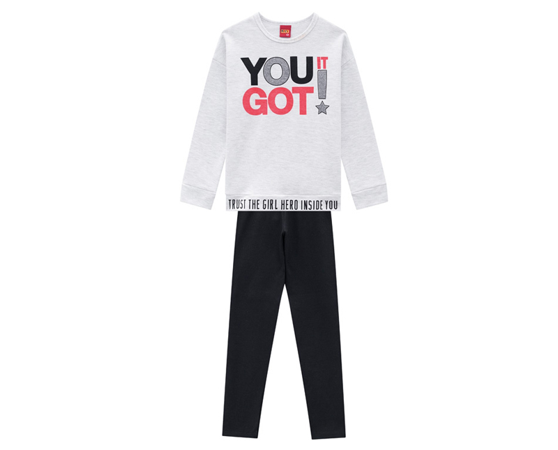 Conjunto Infantil Feminino Blusa e Legging - KYLY 207159
