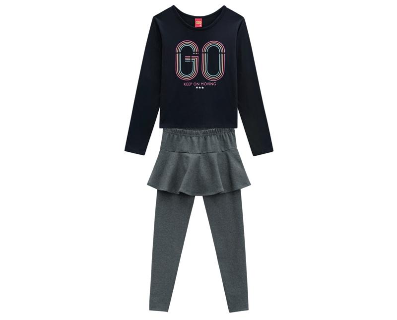 Conjunto Infantil Feminino Blusa e Legging Moving - KYLY 207263