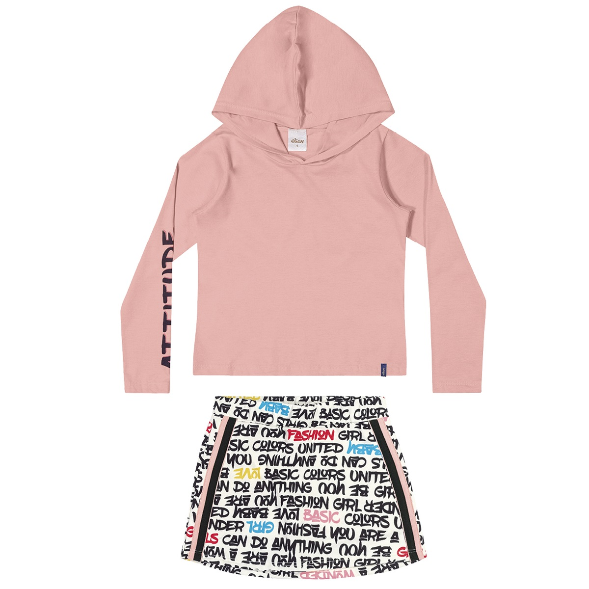 Conjunto Infantil Feminino Blusa e Saia Shorts - ELIAN 251405