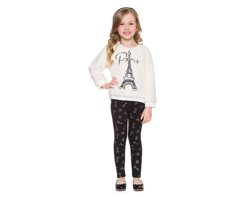 Conjunto Infantil Feminino Casaco e  Legging - MILON 12155