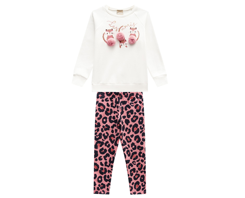 Conjunto Infantil Feminino Casaco e Legging -  MILON 12179