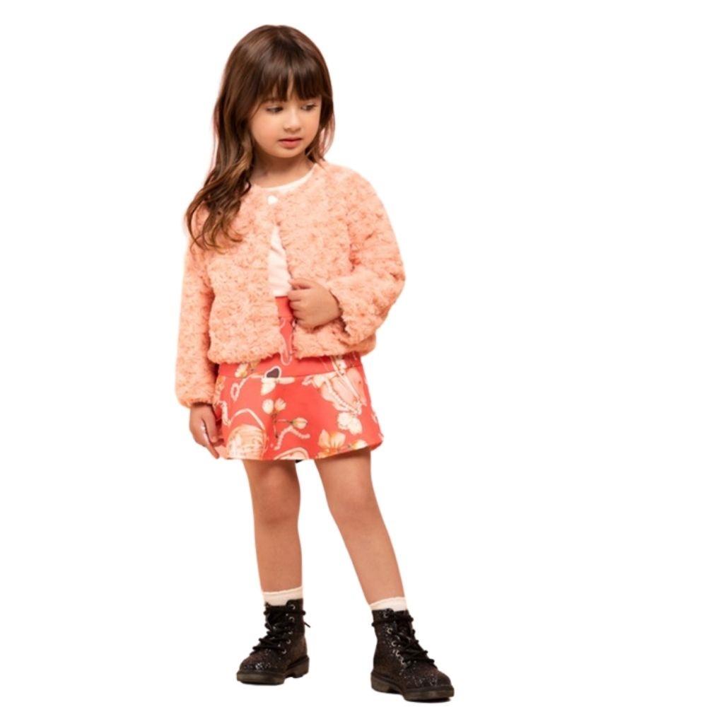 Conjunto Infantil Feminino Casaqueto, Blusa e Saia - MARLAN 27124