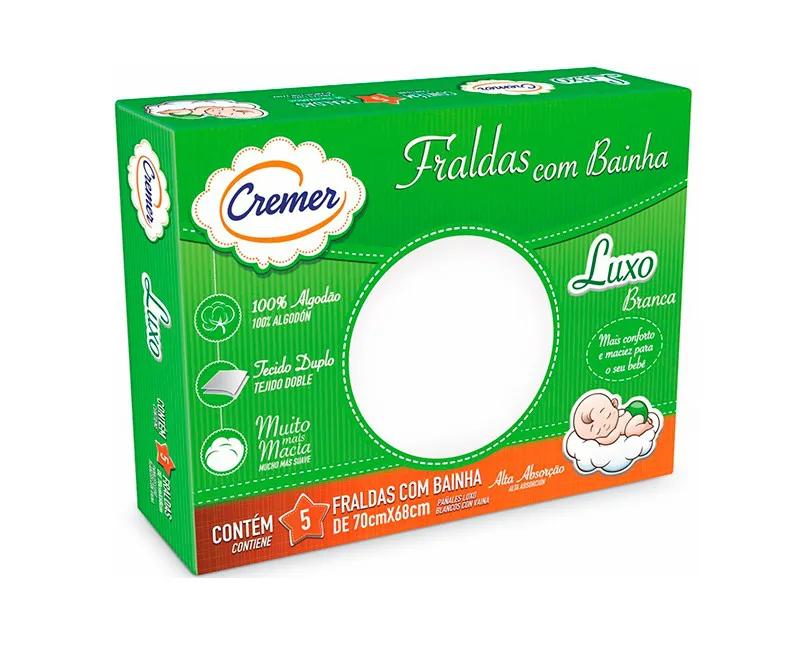 FRALDA LUXO BRANCA COM BAINHA - CREMER 379433