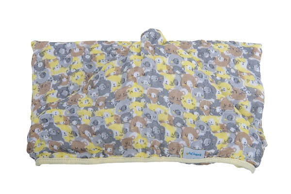 Toalha Soft com Capuz de Centro Ursos Amarelo 80 cm x 90 cm