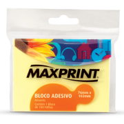 Bloco adesivo 76x102 100 fls amarelo Maxprint