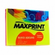 Bloco adesivo 76x102 100 fls neon Maxprint