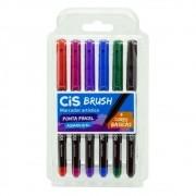 Caneta brush 6 cores básicas aquarelável Cis