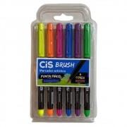 Caneta brush 6 cores neon aquarelável Cis