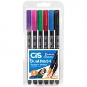 Caneta dual brush 6 cores básicas Cis