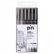 Kit 6 canetas 3 cores UNI PIN Cis