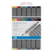 Marcador artístico brush 6 cores básicas GRAF DUO Cis