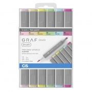 Marcador artístico brush 6 cores pasteis GRAF DUO Cis