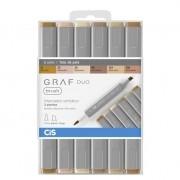 Marcador artístico brush 6 tons de pele GRAF DUO Cis