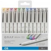 Marcador artístico brush fine 12 cores básicas GRAF Cis