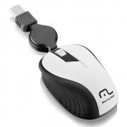 Mouse USB retrátil 1200 dpi branco MO234 Multilaser
