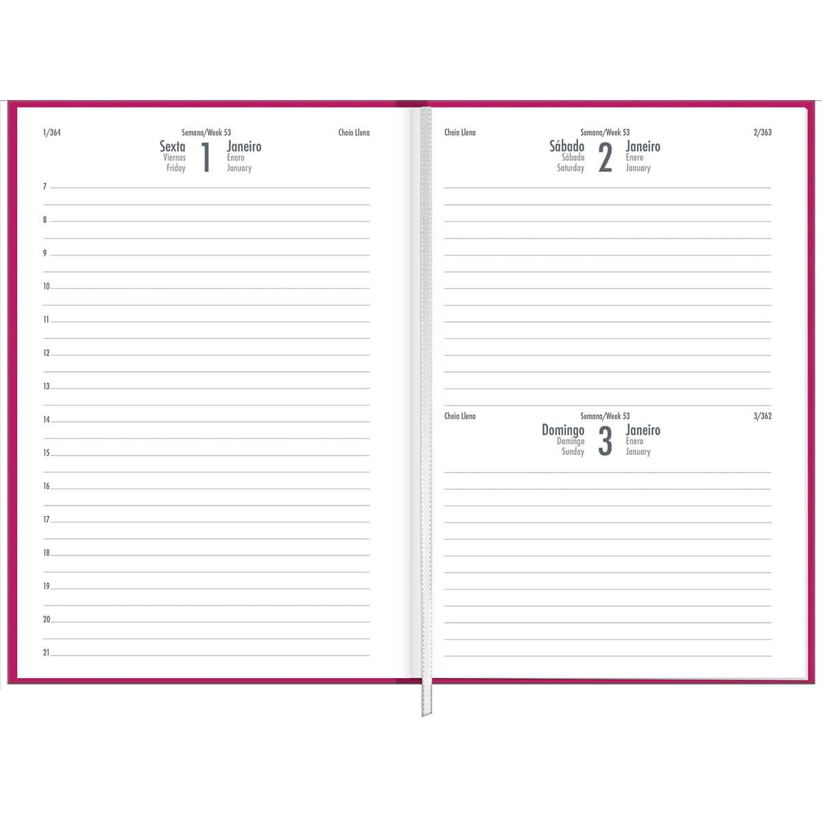 Agenda 2021 costurado 176 fls rosa Napoli M5 Tilibra