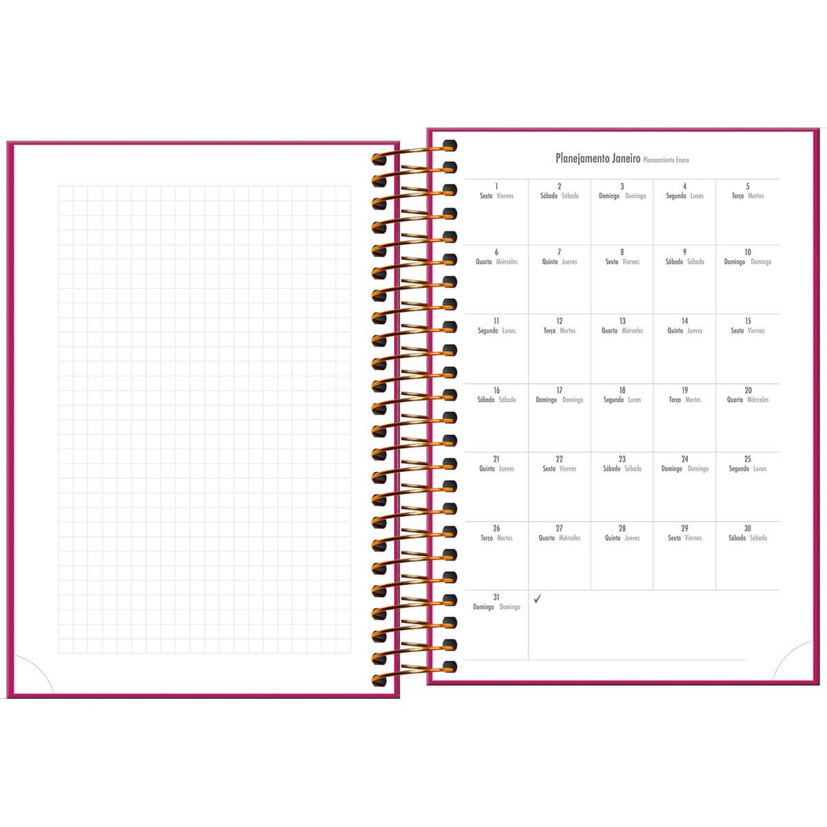 Agenda 2021 espiral 176 fls rosa Napoli M5 Tilibra
