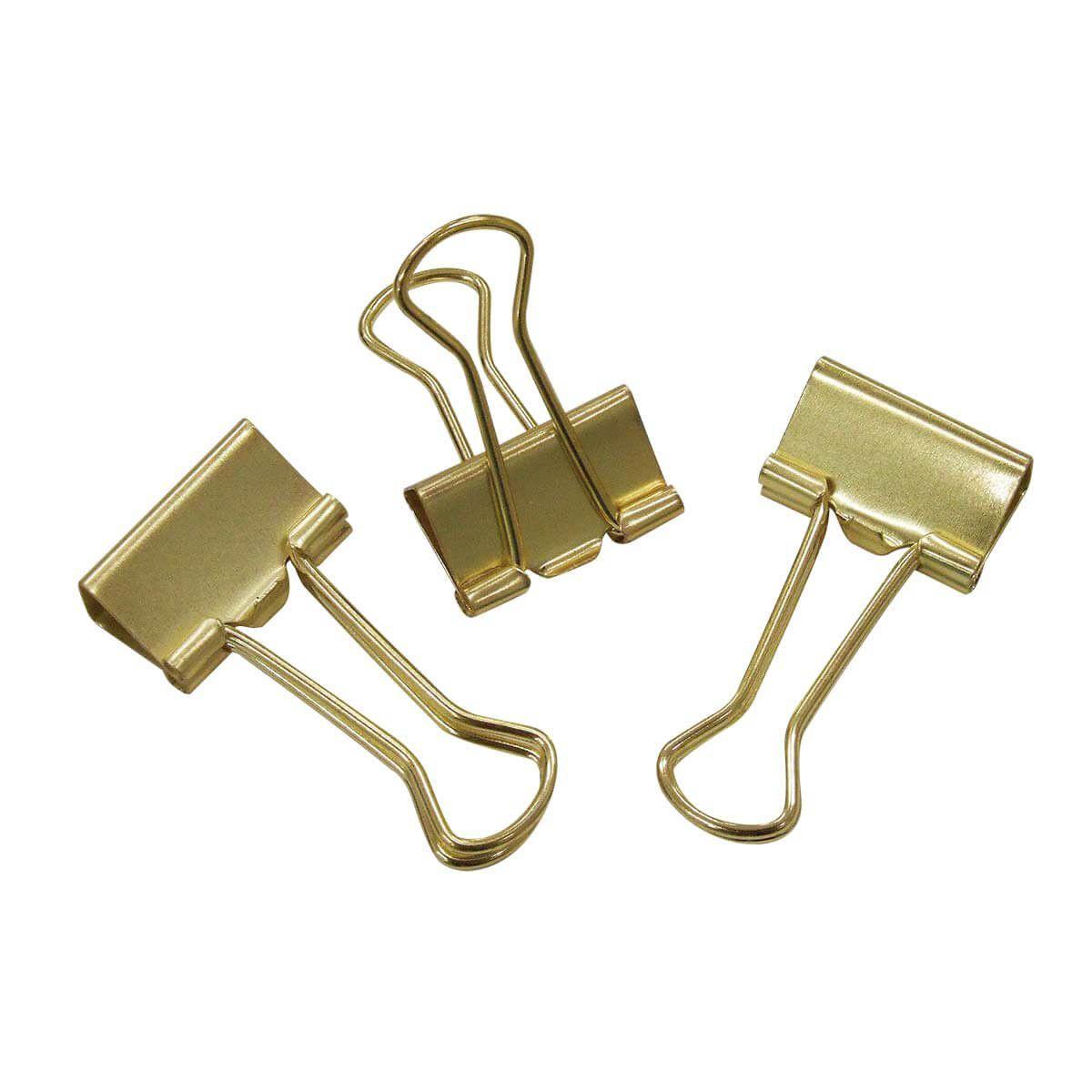 Binder clips 19 mm 12 un dourado Tilibra