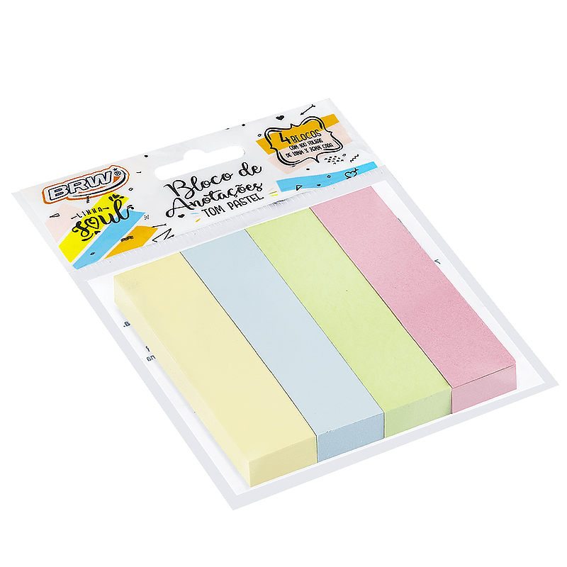 Bloco adesivo 19x76 100 fls 4 cores pastel Brw