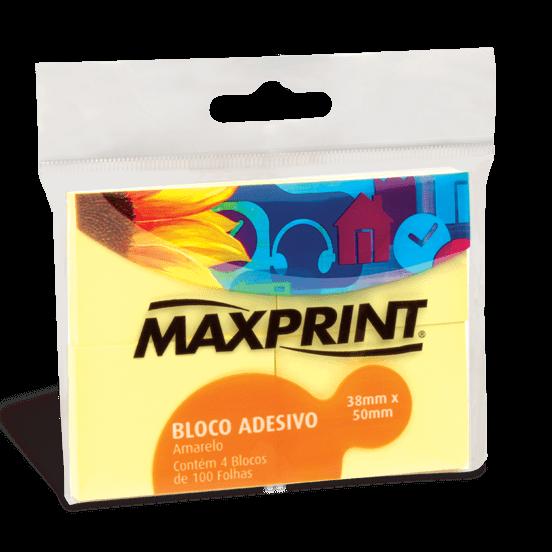 Bloco adesivo 38x50 100 fls amarelo Maxprint