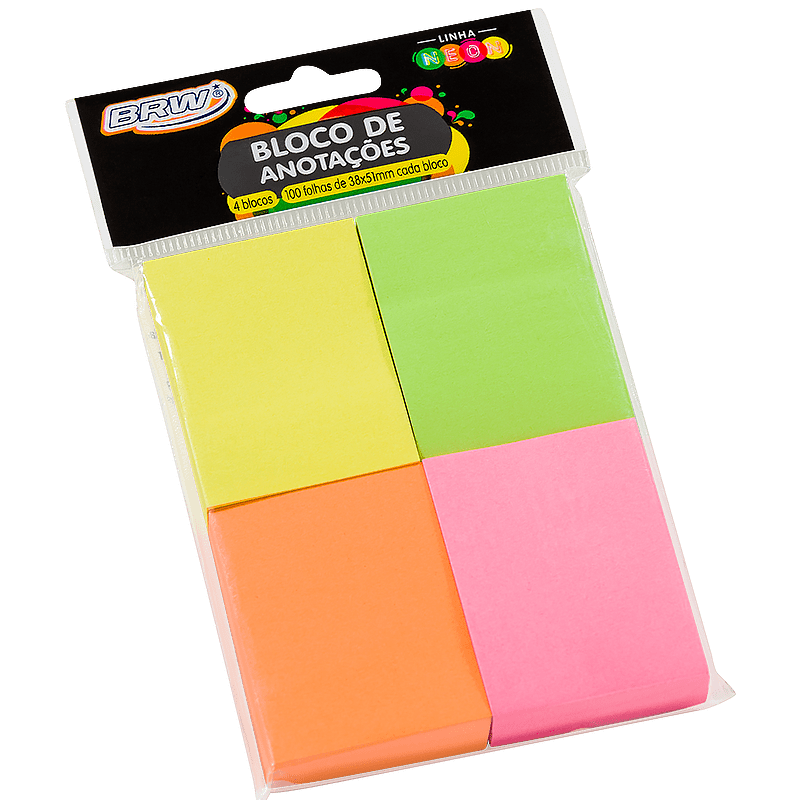 Bloco adesivo 38x51 100 fls 4 cores Brw