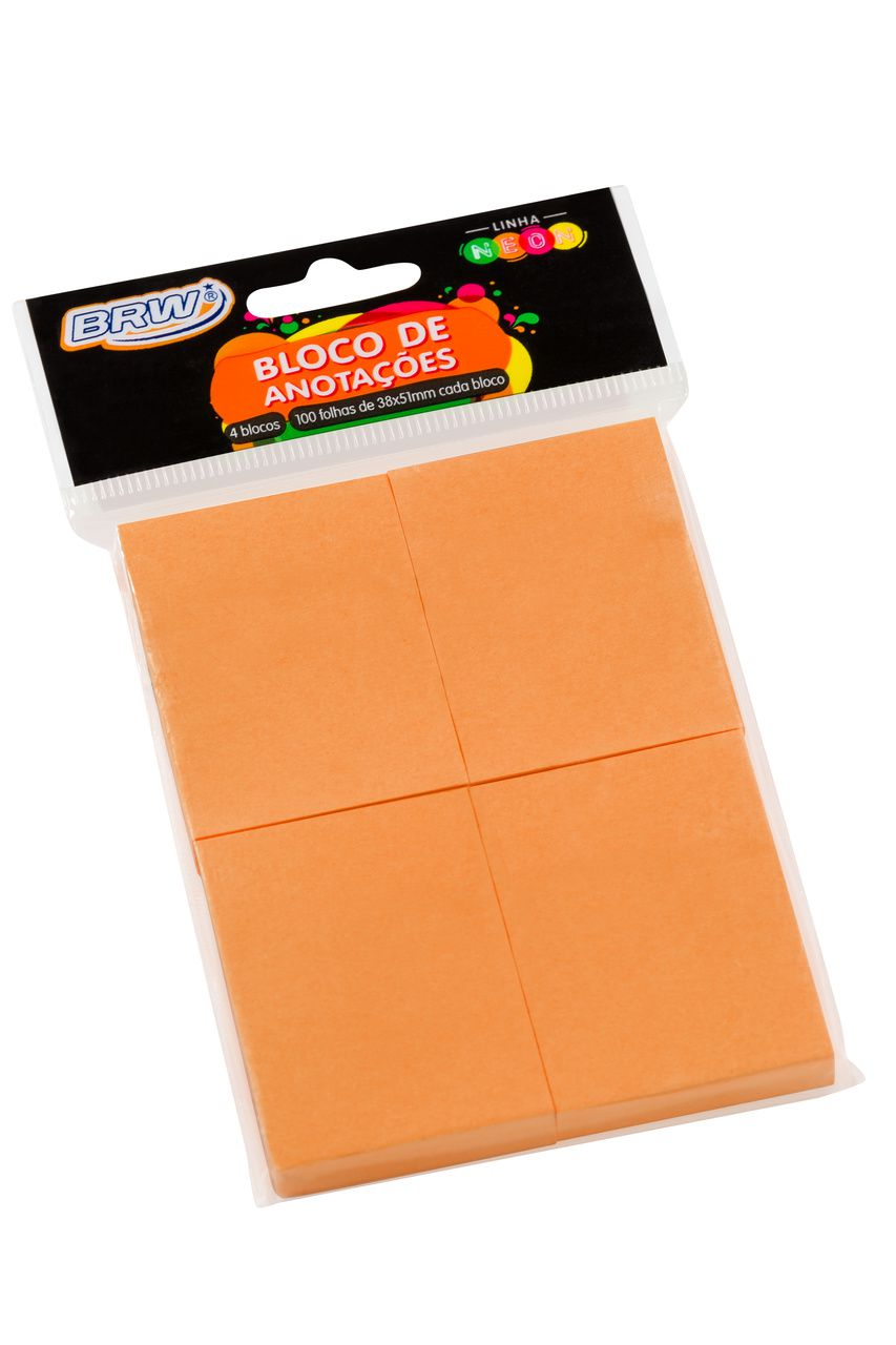 Bloco adesivo 38x51 100 fls laranja Brw