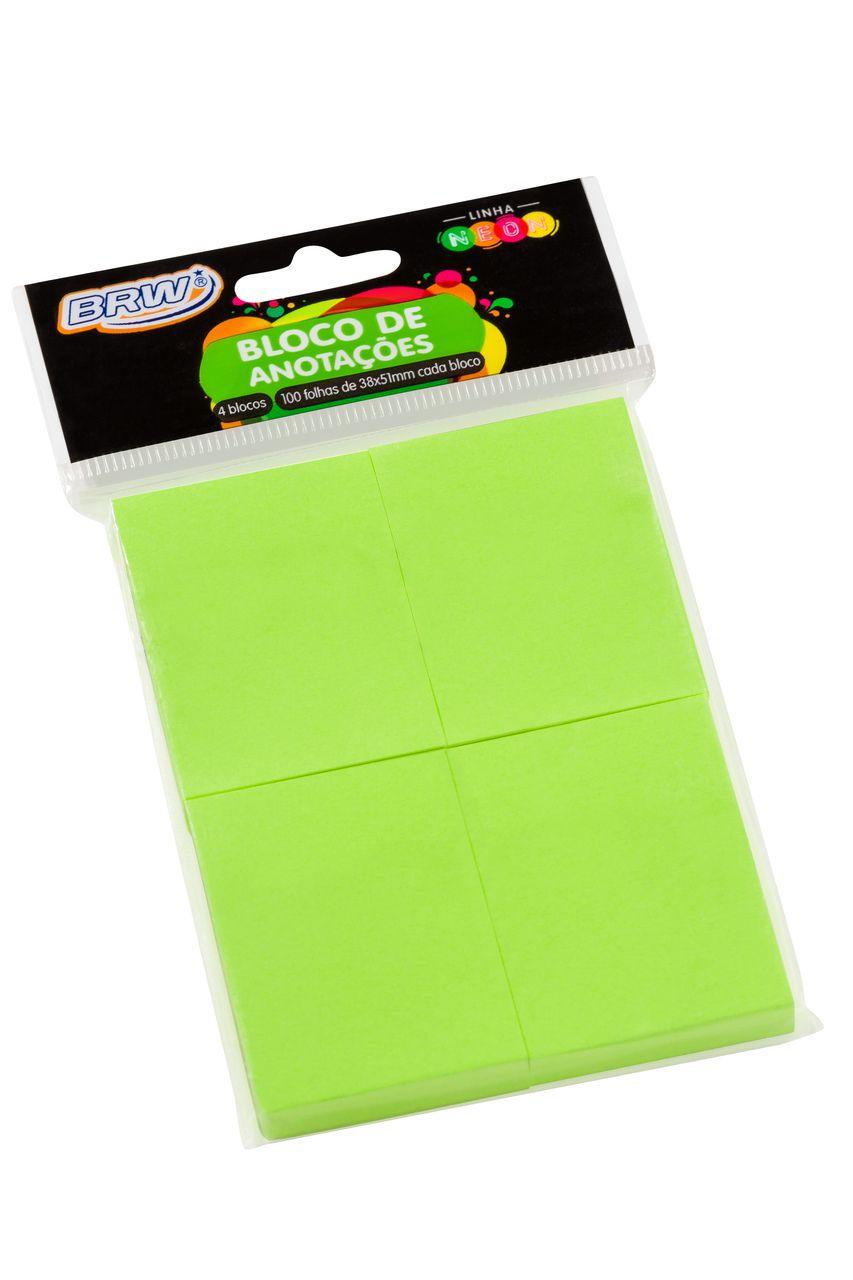 Bloco adesivo 38x51 100 fls verde Brw