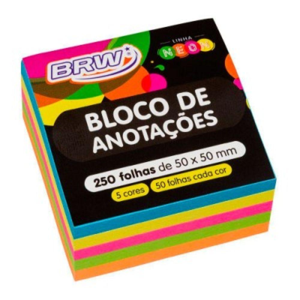 Bloco adesivo 50x50 250 fls 5 cores Brw
