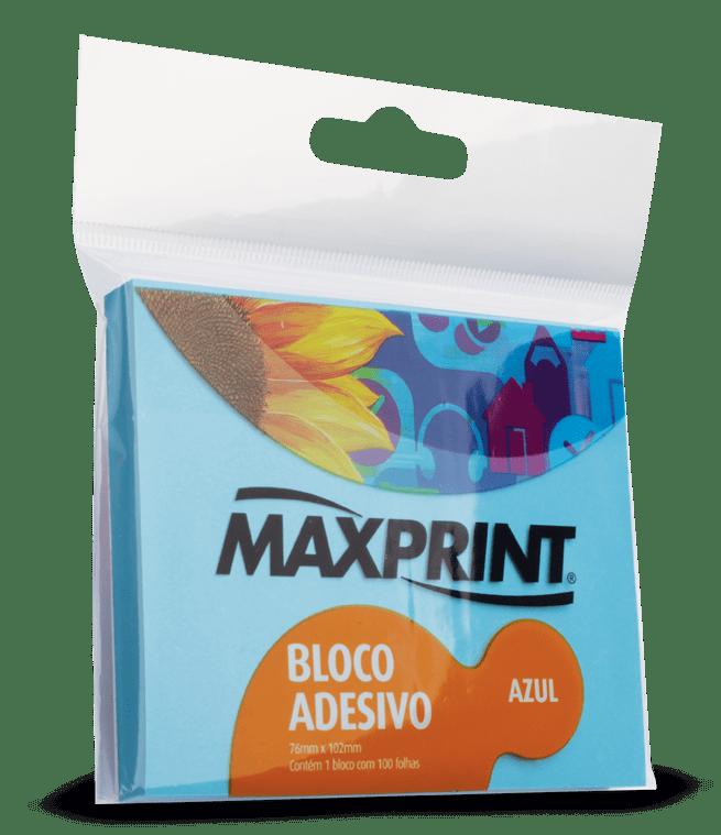 Bloco adesivo 76x102 100 fls azul Maxprint