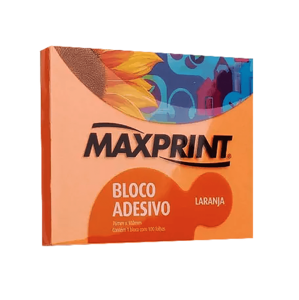 Bloco adesivo 76x102 100 fls laranja Maxprint