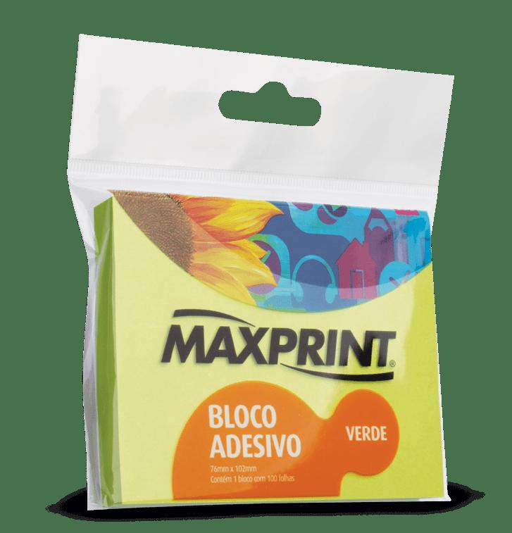 Bloco adesivo 76x102 100 fls verde Maxprint