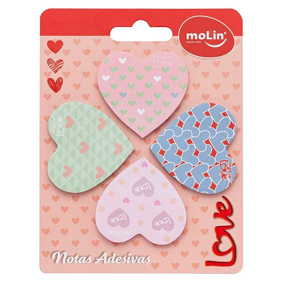 Bloco adesivo coração 42x45 100 fls 4 cores pastel Molin