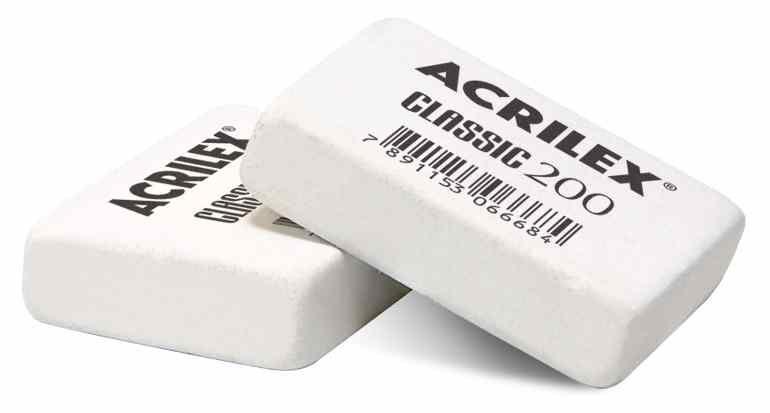 Borracha branca classic 200 Acrilex