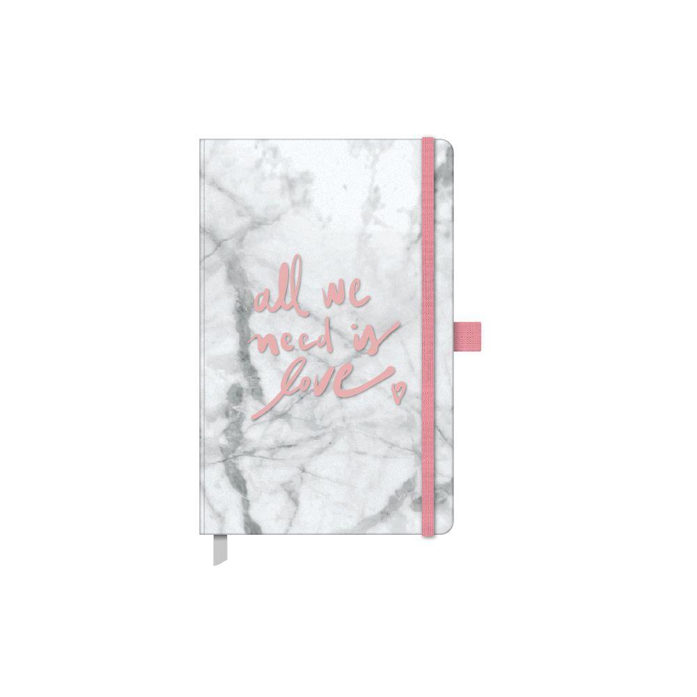 Caderneta maxi pautado 84 fls Pink Stone Mármore Ótima