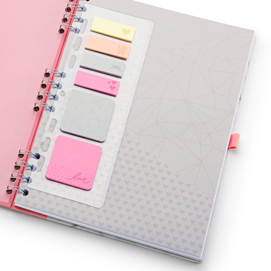 Caderno 177 Pink Stone Mármore 90 fls Ótima