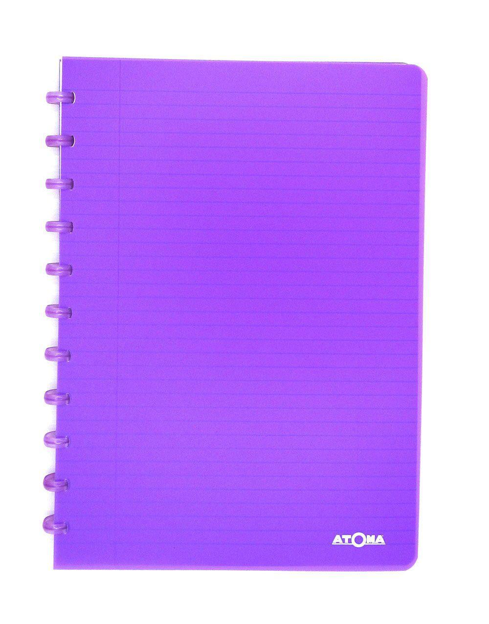 Caderno A4 72 fls roxo TRANSPARENTE Atoma