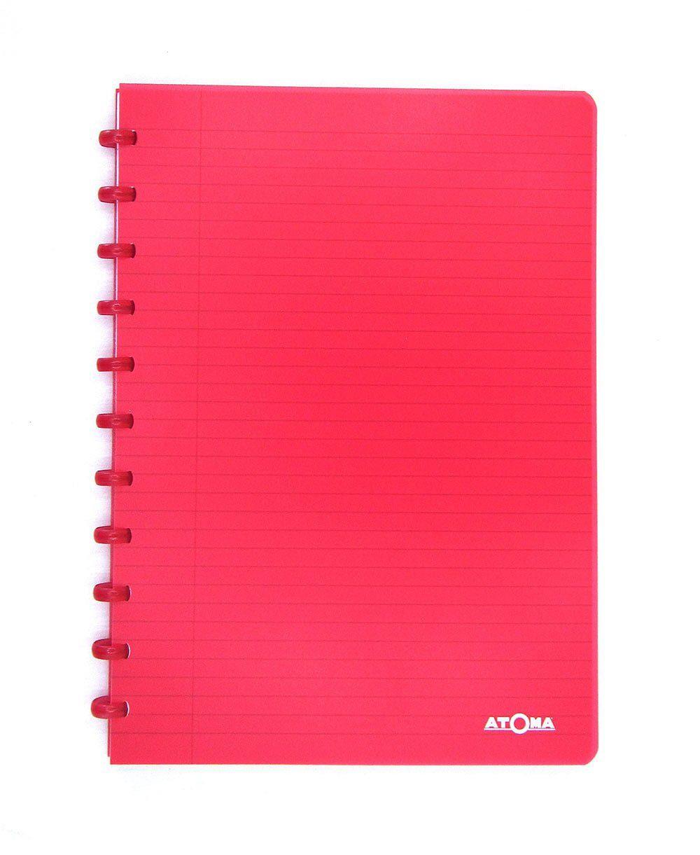 Caderno A4 72 fls vermelho TRANSPARENTE Atoma