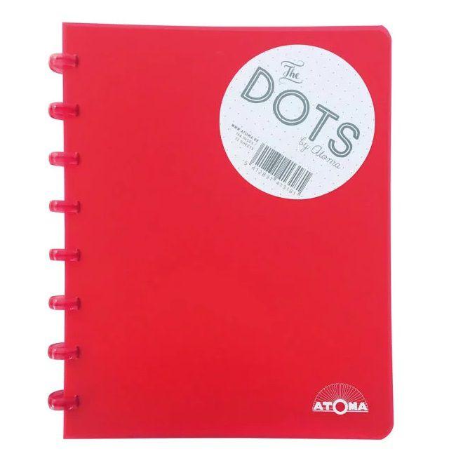Caderno A5 72 fls vermelho DOTS Atoma
