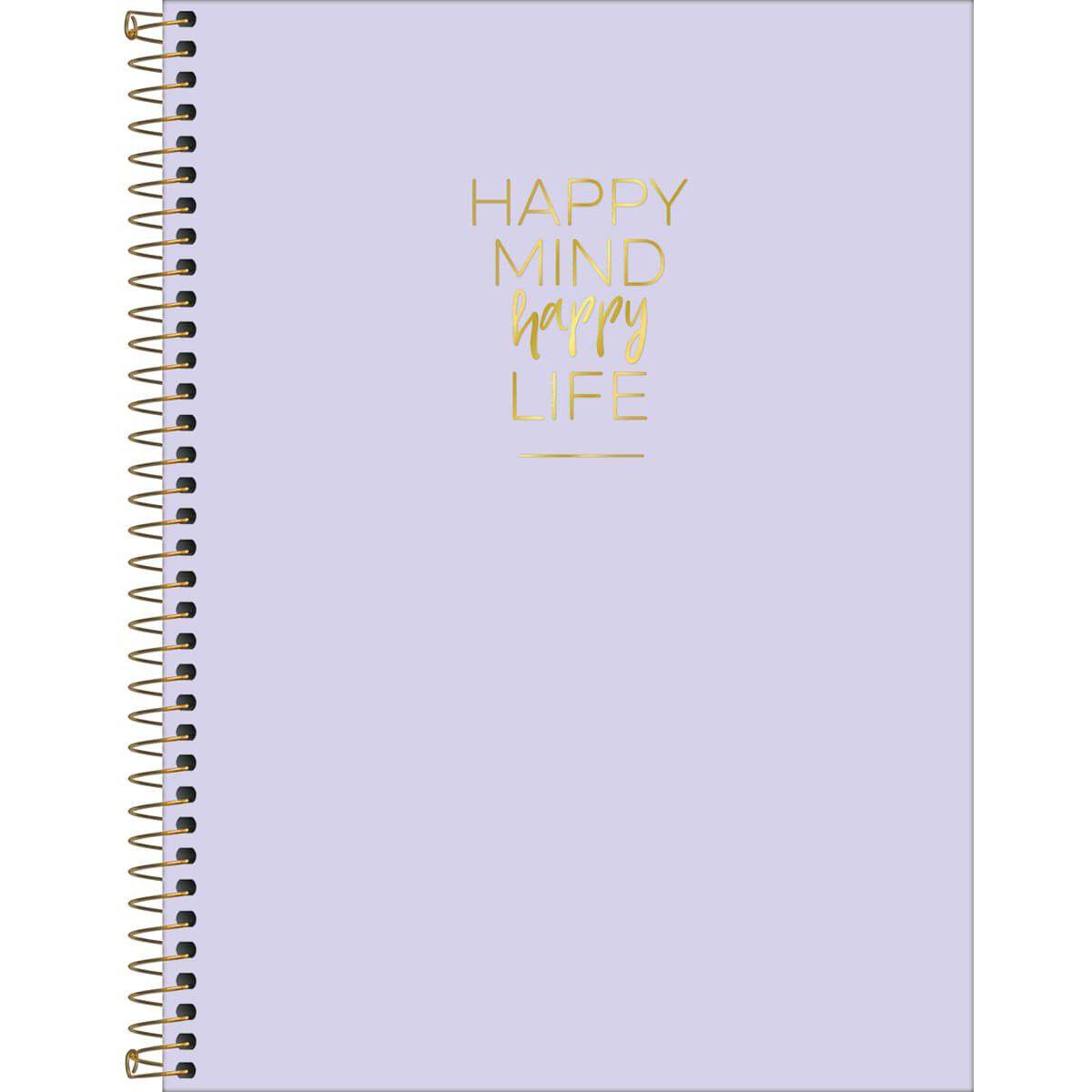 Caderno colegial 10 matérias 160 fls lilas Happy Tilibra