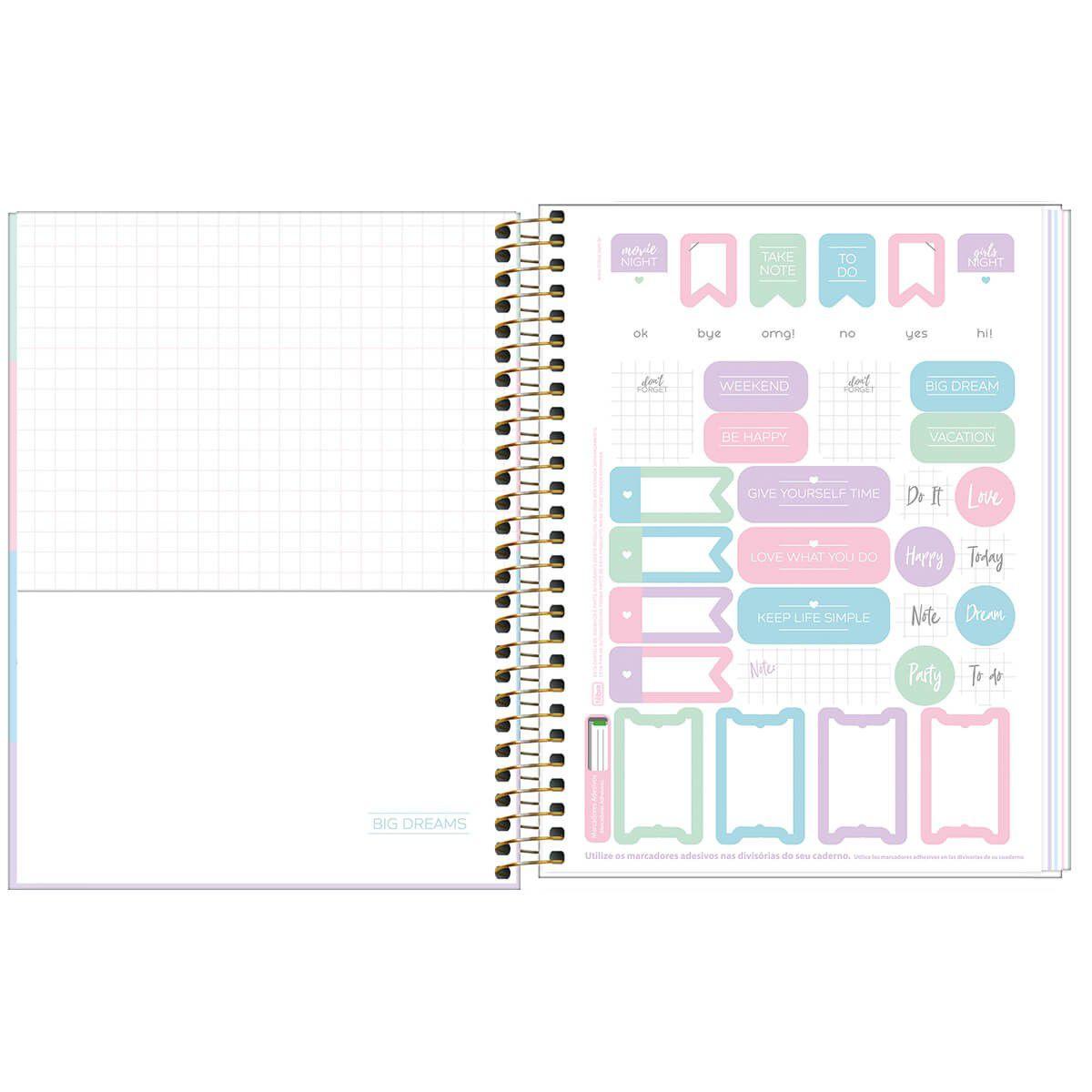 Caderno colegial 1 matéria 80 fls color happy Tilibra