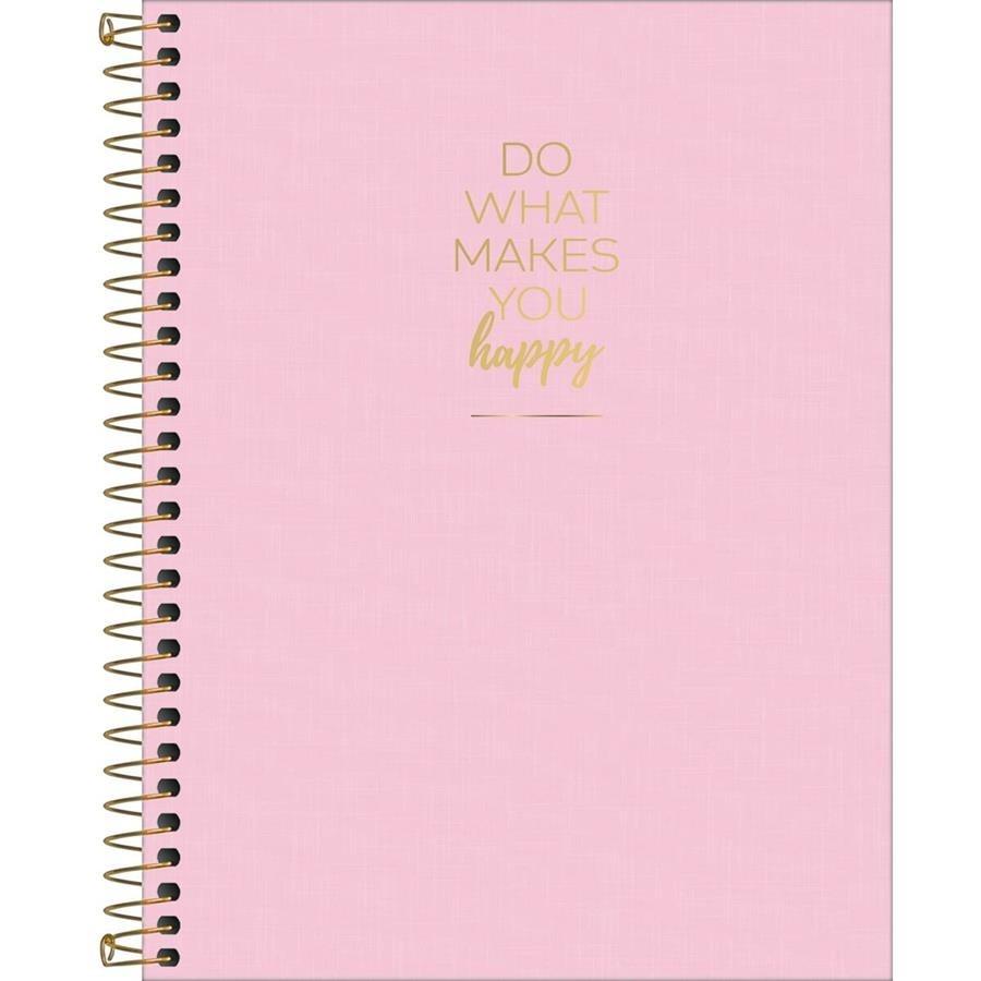 Caderno colegial 1 matéria 80 fls rosa happy Tilibra