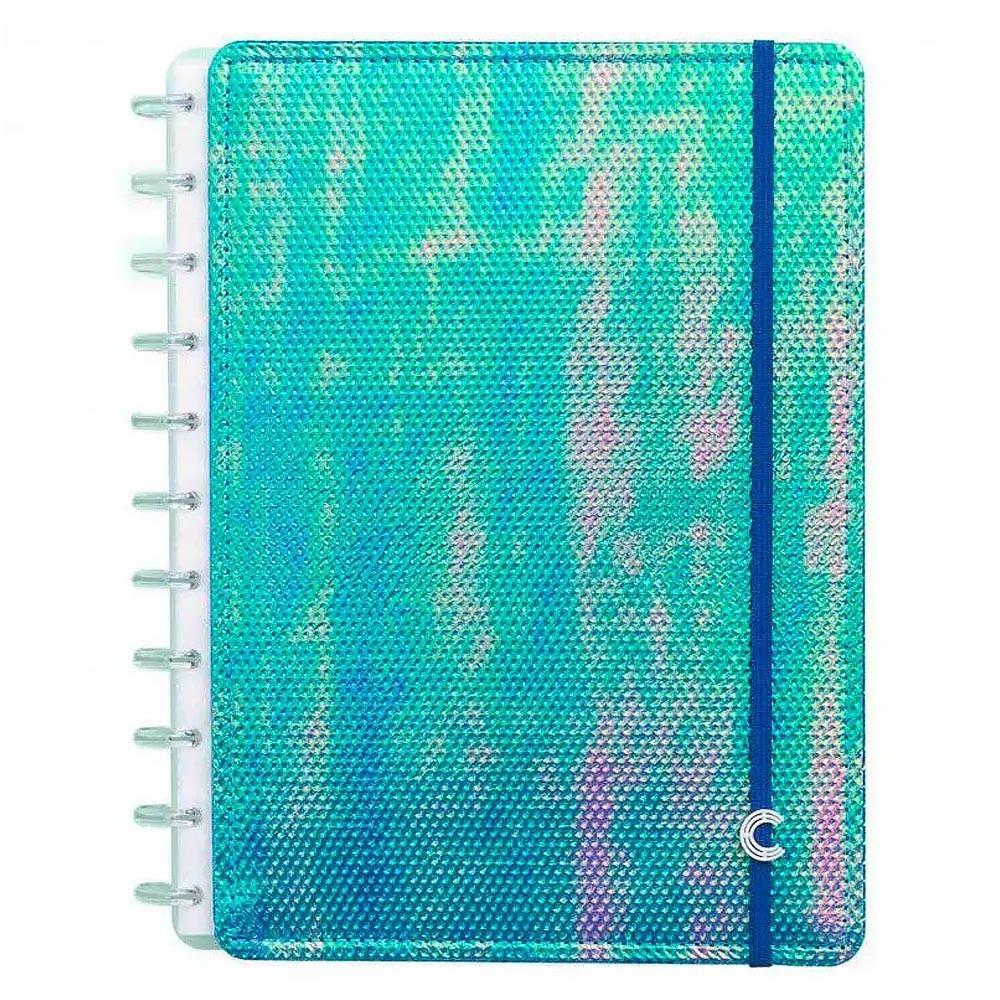 Caderno Grande 80 fls Azul Holográfico Caderno Inteligente