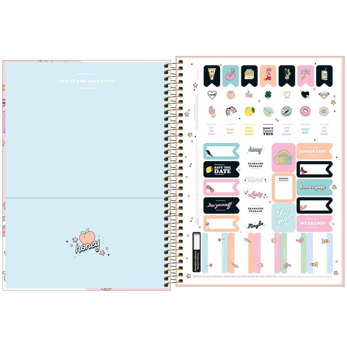 Caderno universitário 10 matérias 160 fls Capricho Tilibra