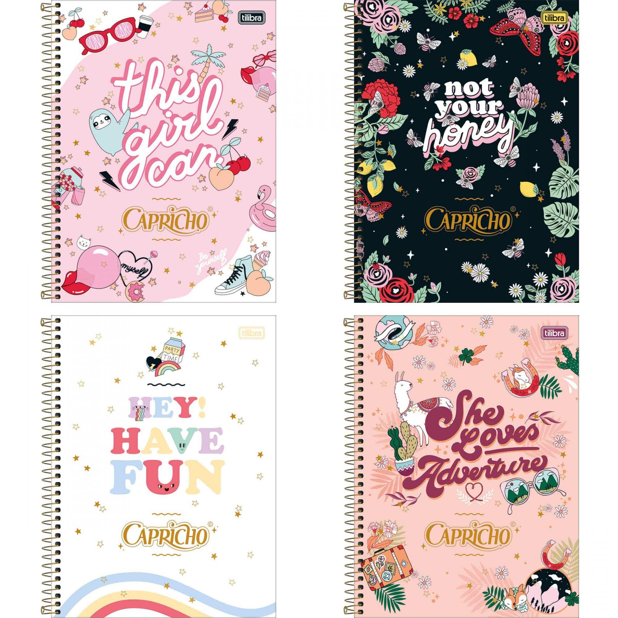 Caderno universitário 16 matérias 256 fls Capricho Tilibra