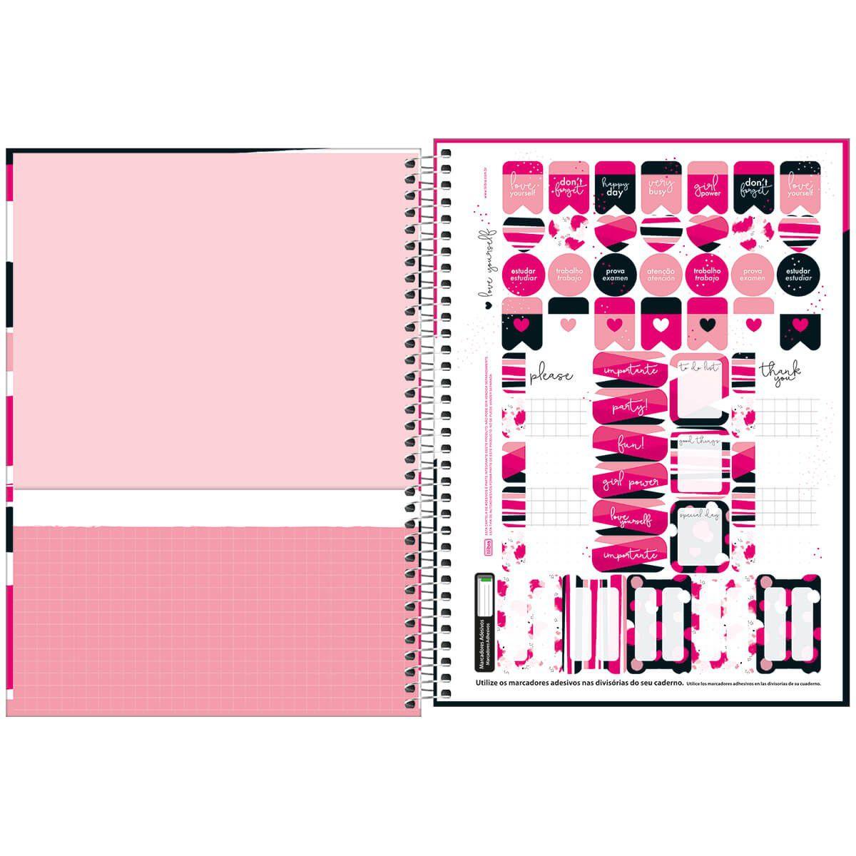 Caderno universitário 1 matéria 80 fls Love Pink Tilibra