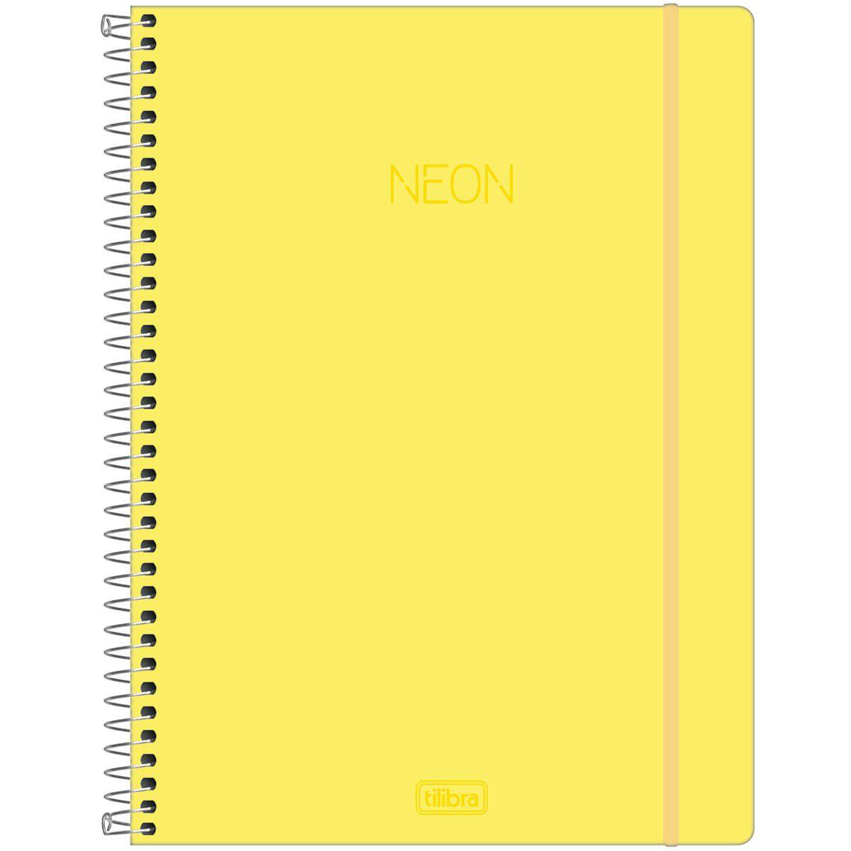 Caderno universitário 1 matéria 80 fls Neon amarelo Tilibra