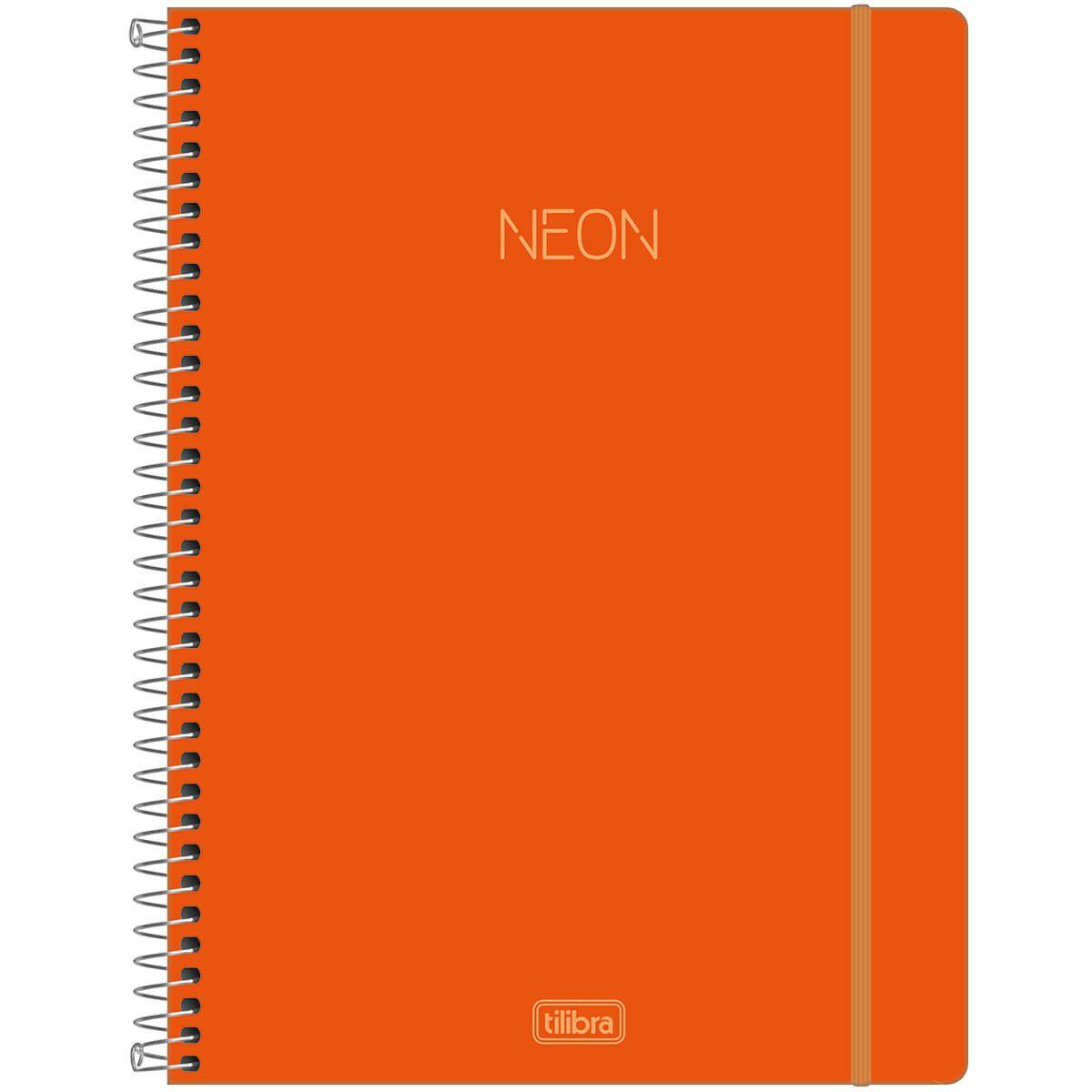 Caderno universitário 1 matéria 80 fls Neon laranja Tilibra